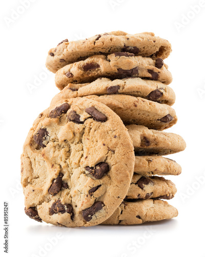 Papiers peints Biscuit Chocolate chip cookies isolated on white background.