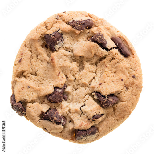 Foto op Aluminium Koekjes Chocolate chip cookie isolated on white background.