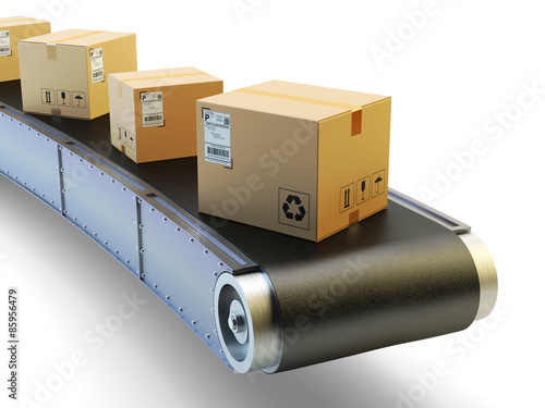 Fotografiet  Packages delivery and mail service shipment concept, purchases transportation sy