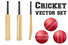 Traditional Wood Cricket Bats And Balls.