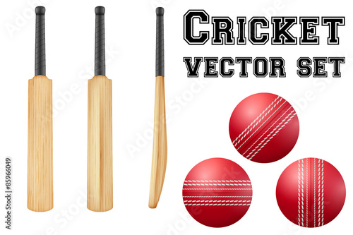 Carta da parati Traditional wood cricket bats and balls.