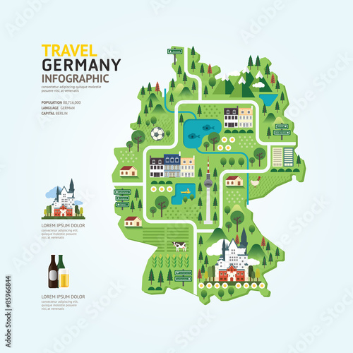 Photo Infographic travel and landmark germany map shape template desig