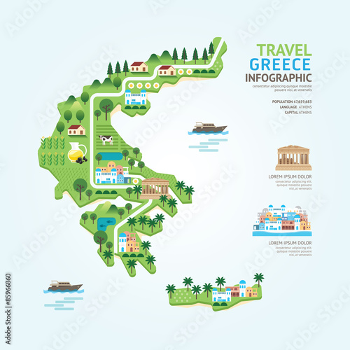 Infographic travel and landmark greece map shape template design Wallpaper Mural
