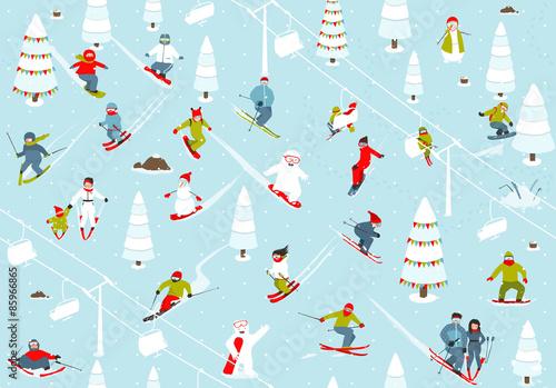Cotton fabric Cartoon Mountain Ski Resort Seamless Pattern