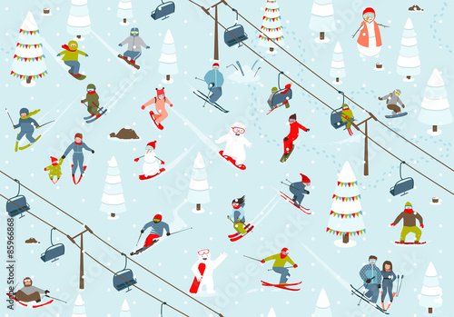 Cotton fabric Ski Resort Seamless Pattern with Snowboarders and Skiers