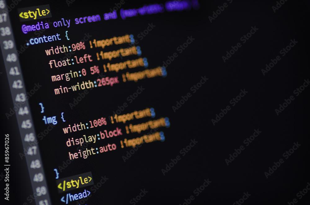 Fototapeta HTML, CSS and media query code