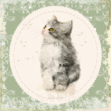 Vintage Card With Fluffy Kitten. Imitation Of Watercolor Paintin