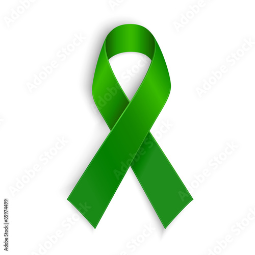 Fotomural  Green ribbon. Scoliosis, Mental health and other awareness