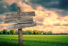 Wooden Sign On A Green Field