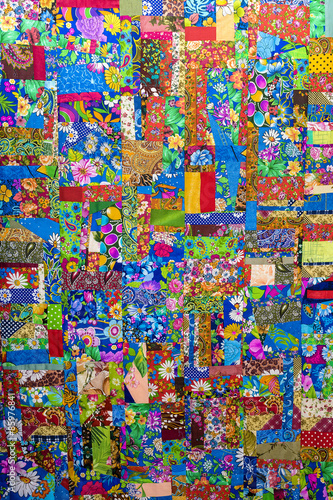 Poster Graffiti Background of colorful patchwork fabrics
