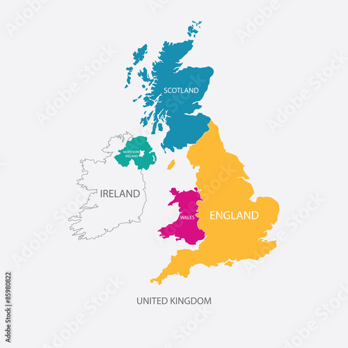 Fotografia  UNITED KINGDOM MAP, UK MAP with borders in different color
