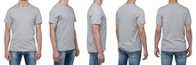 Body View Of Five Man In A Grey T-shirt. Isolated.