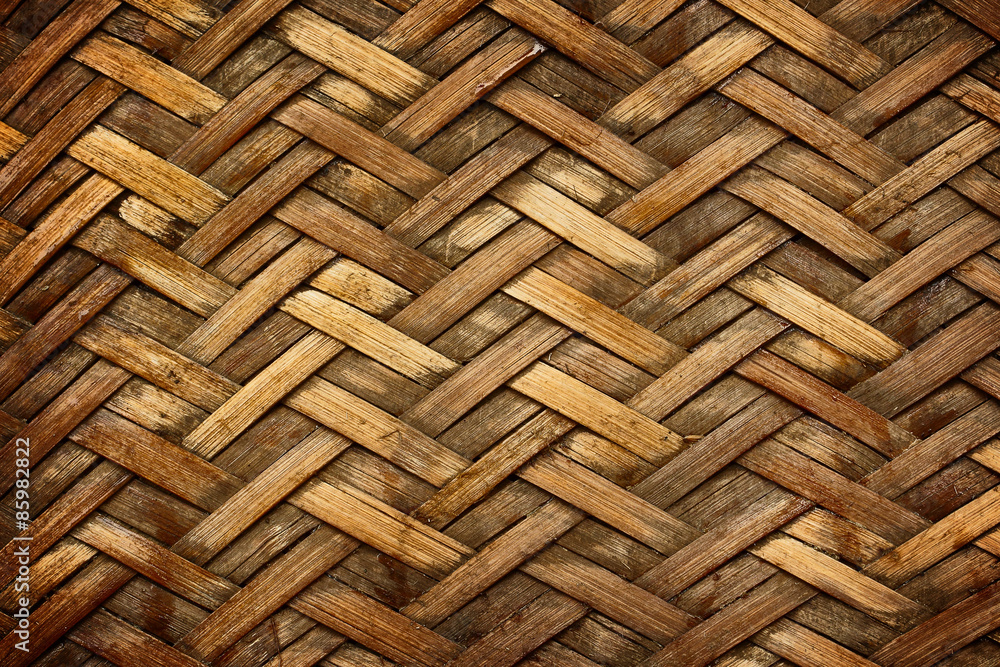 Fototapety, obrazy: Brown woven bamboo close up texture