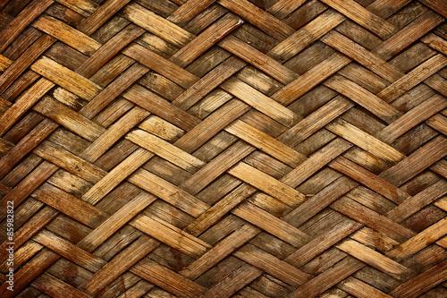Fotografiet  Brown woven bamboo close up texture