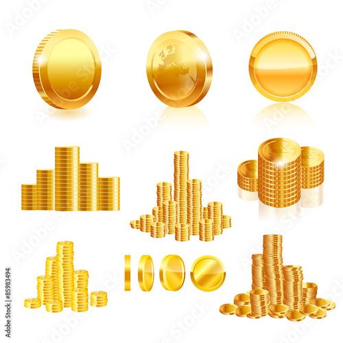 Fotografía  Gold coin set. Vector