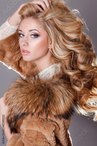 Fotografie, Obraz  Glamour young woman beauty face long blonde hair