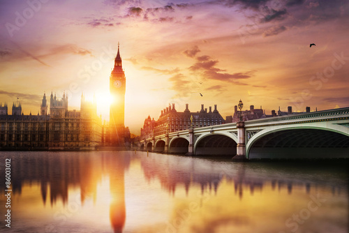 Poster Londres Big Ben and House of Parliament