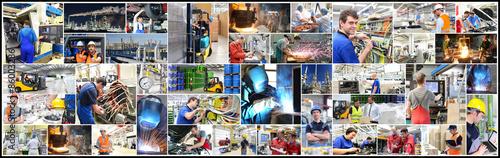 Fotografie, Obraz  Collage: Jobs in der Industrie, Handel und Gewerbe; verschiedene Motive wie Mechaniker, Stahlwerk, Logistik, Lebensmitteldinsutrie, Schweißer,