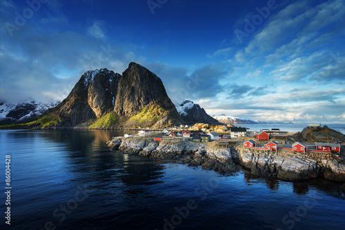 Poster Scandinavie Fishing hut at spring sunset - Reine, Lofoten islands, Norway