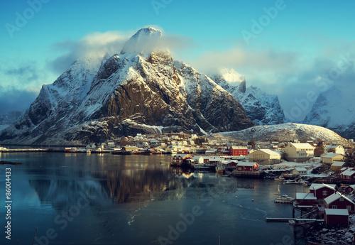 Spoed Foto op Canvas Poolcirkel snow in Reine Village, Lofoten Islands, Norway
