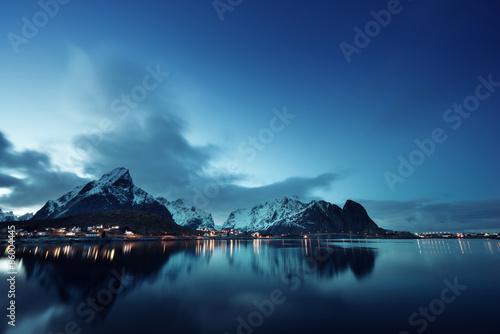 Poster Scandinavie sunset in Reine Village, Lofoten Islands, Norway