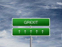 Grexit Crisis Euro Currency Greece Exit Greek Storm Sign.