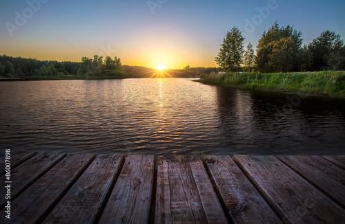 Fotobehang Natuur Закат на озере