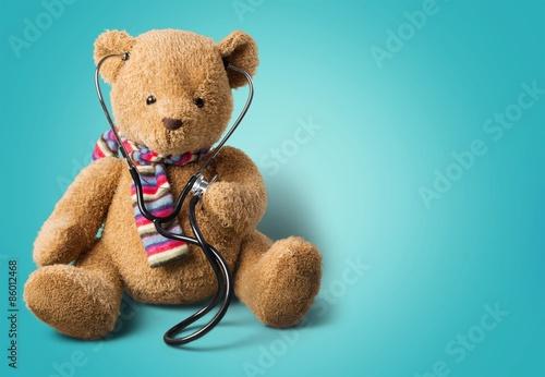 Fotografie, Obraz  Teddy Bear, Recovery, Stethoscope.