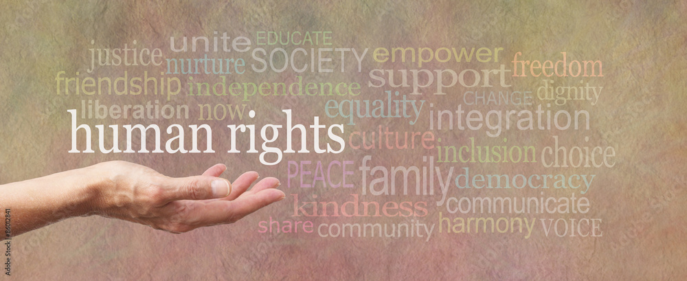 Fototapety, obrazy: Human Rights is in Our Hands campaign banner - female's open palm with the words 'human rights' above surrounded by a relevant word cloud on a wide stone effect background