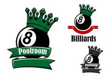 Crowned Black Billiards Or Pool Ball