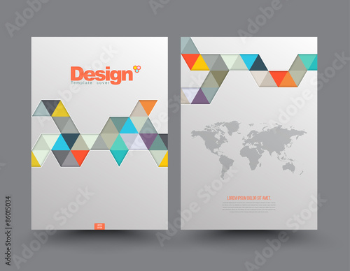 Template cover with pieces of colored paper triangles use for book template cover with pieces of colored paper triangles use for book brochure flyer reheart Images