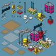A cartoon set of isometric urban industry objects such as office buildings, parks and trees that can be used and combined with other sets to create cartoon urban scenes.