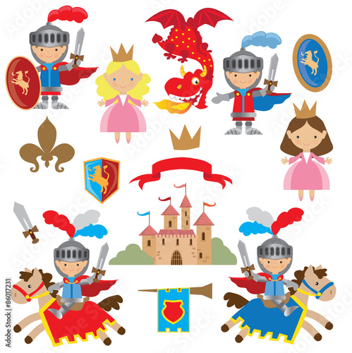 Knight, princess and dragon vector illustration #86017231