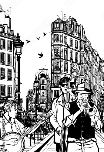Obraz na płótnie Jazz band in a street of Paris