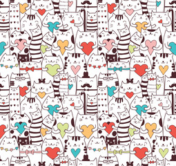 Fototapeta Kot Сats with hearts seamless pattern