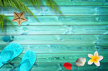 Summer Background With Palm Tr...