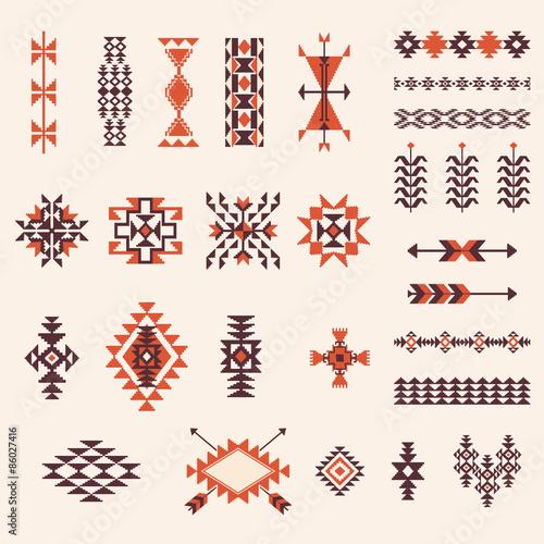 Fototapeta Native american navajo aztec pattern vector set
