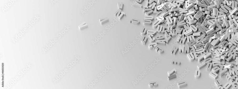 Fototapety, obrazy: Infinite letters background, original 3d illustration.