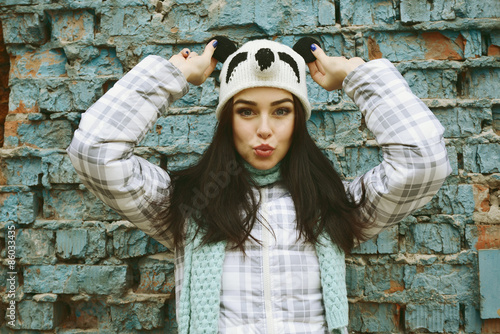 Beautiful Cool Girl In Funny Hat Gainst Grunge Brick Wall Make F