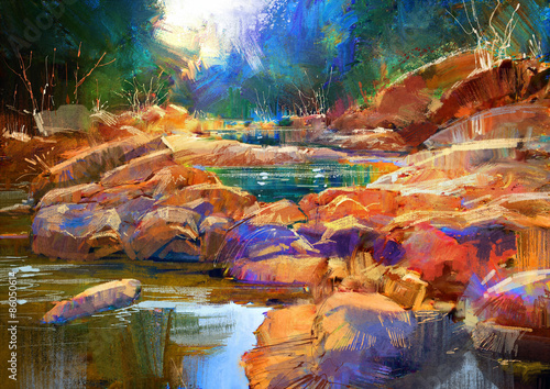 beautiful fall river lines with colorful stones in autumn forest,digital painting - 86050614