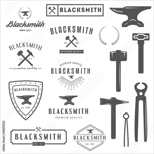 Fotografía Collection of logo, elements and logotypes for blacksmith or