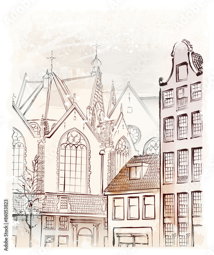 Photo  vintage freehand illustration of  Amsterdam