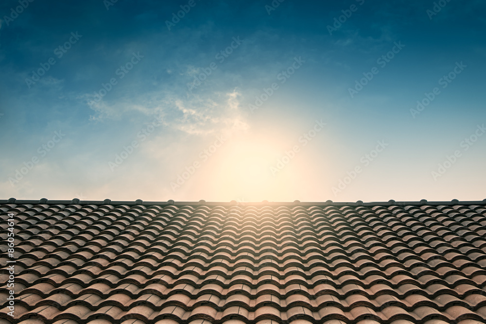 Fototapety, obrazy: red tile roof blue sky,vintage filter