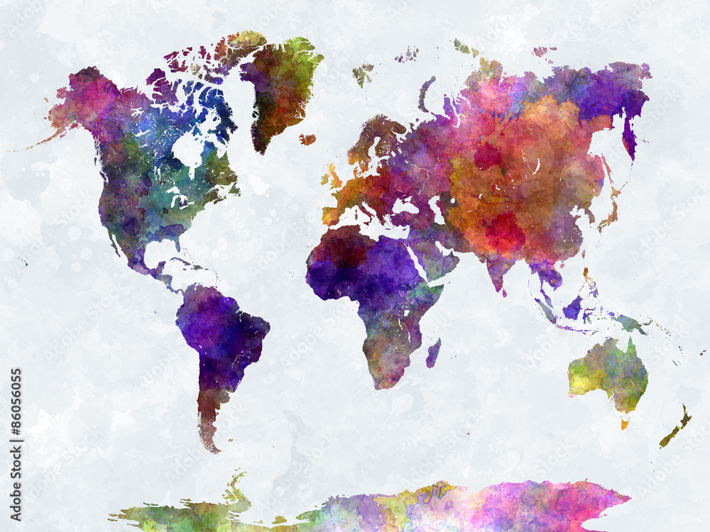 Fototapeta World map in watercolorpurple and blue