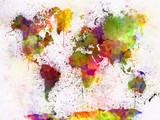 Fototapeta Młodzieżowe - World map in watercolor
