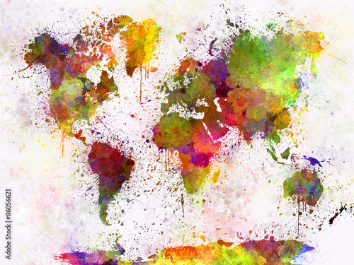 Платно World map in watercolor