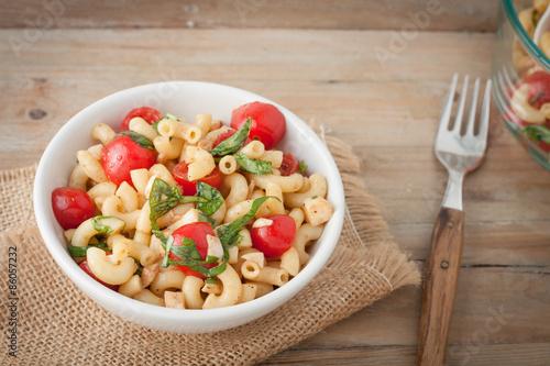 Fotografie, Obraz  Italian macaroni salad with tomatoes and fresh basil