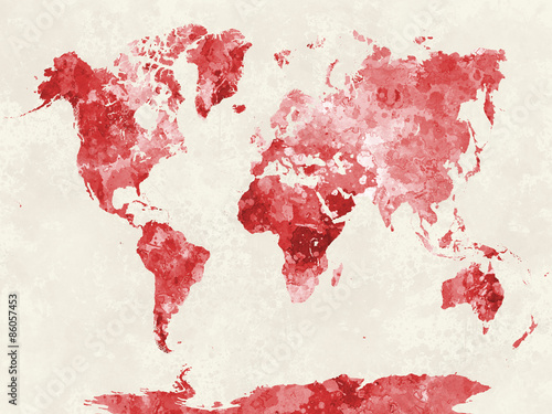 Photo World map in watercolor red