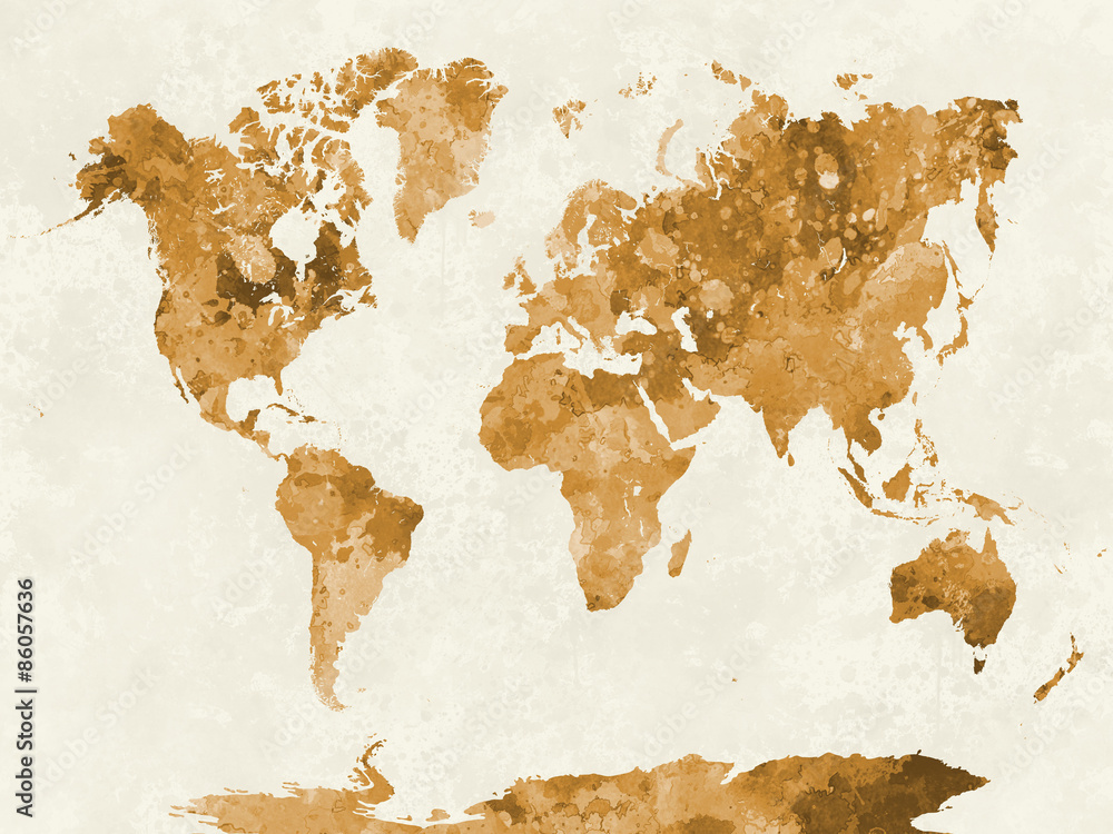 Fotografie, Obraz World map in watercolor orange
