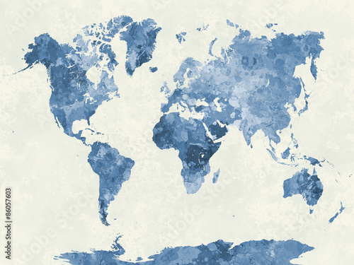 Photo  World map in watercolor blue